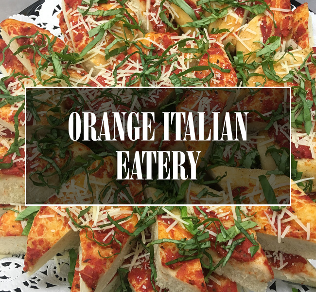 Orange Italian Eatery Tile Button